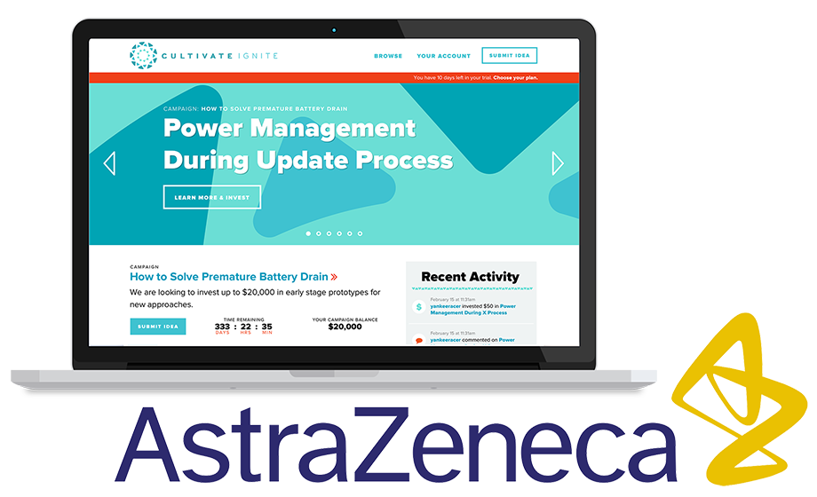 Cultivate Ignite web application dashboard for AstraZeneca internal crowdfunding case study